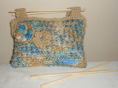 .. Handbag - crochet, tote, purse, chopsticks, blue, tan, khaki, flowers www.etsy.com