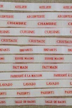 """Notre collection de rubans Linge de Maison. Our Household ribbon collection. Webbänder Kollektion """"Linge de maison"""""""