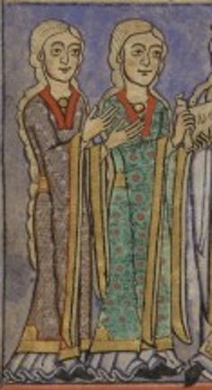 f. 2v Paris BNF, Latin 15675, origine :Afflighem, 2nd quart XIIème.  These look like early bliauts as in the court garment made of the bliaut fabric with orfrois embroidered bands cut shaped to the torso likely using side lacing.  The cintures also seem to be embroidered with ofrois and they have brooches closing the chemises at the necks.