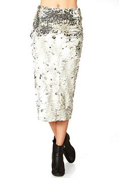 The Sugarlips Mermaid Sequin Skirt is an amazing silver sequin pencil skirt that is perfect for the holiday season. Features a back slit. Zipper closure on back. Price : $64.00 #MyLuluCloset #Sugarlips #Skirts
