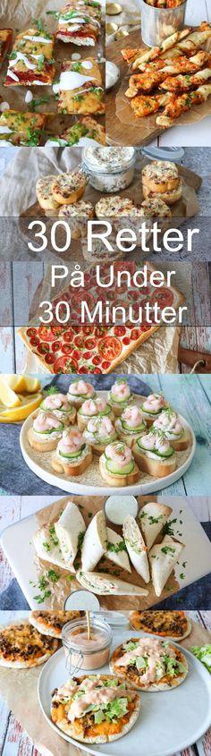 30 lækre retter på 30 minutter eller under 30 minutter. Dette indlæg indeholder 11 lækre forretter/snakcs, 16 skønne frokost/aftensmadsretter og 3 desserter, som alle kan laves på 30 minutter eller under. #Aftensmad #Opskrift #Frokost #Hjemmelavet #30minutter Recipe Boards, Learn To Cook, Finger Foods, Bacon, Good Food, Food Porn, Brunch, Food And Drink, Cheddar