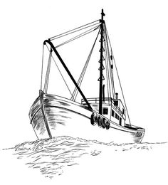 Fishing Boat, Fishing Boat Sketch Coloring Pages: Fishing Boat Sketch Coloring…