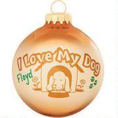 I Love My Dog Ornament  border=