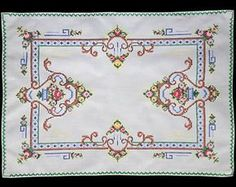 Items similar to Vintage cross stitch table runner with roses on Etsy