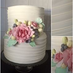 Fondant Flowers Layered Icing Wedding Cake