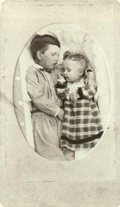 tuesday-johnson: ca. 1864, [post mortem portrait of two children], Squyer Studio via Looking at Death, Barbara Norfleet