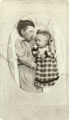 tuesday-johnson: ca. 1864, [post mortem portrait of two children], Squyer Studio via Looking at Death, Barbara Norfleet