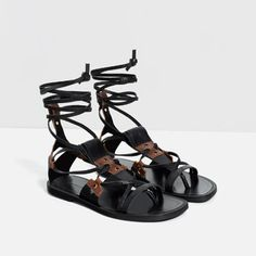 LEATHER LACE-UP SANDALS-View all-WOMAN-NEW IN   ZARA Israel