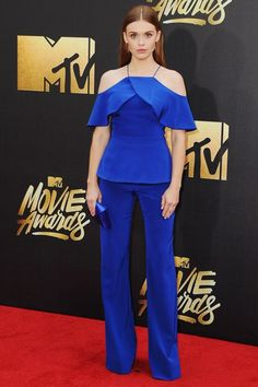 The best one-pieces give the illusion that they're two separate items when they aren't. Nice work, Holland Roden.Christian Siriano jumpsuit. #refinery29 http://www.refinery29.com/2016/04/108036/mtv-movie-awards-2016-best-dressed-red-carpet-photos#slide-4