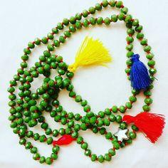 Verde e rossa con nappine colorate collana - green/Red necklace
