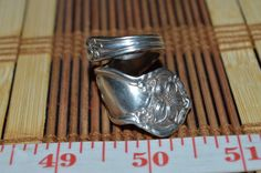 Hand Hammered / Made Wide Silver Spoon Detailed Floral Ring Size 8-8.5  FSR15 #Handmade #vintagespoonring