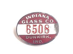 Vintage employee badge from the Indiana Glass Company of Dunkirk, Indiana, who made carnival and depression glass. The metal and glass enamel pin was manufactured by Bastian Brothers of Rochester NY. // Find it at http://modernpoetry.etsy.com