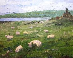 Sheep in the Meadow, Waterville Lake, Ireland -- Roxanne Steed