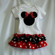 sew Minnie mouse dress from shirt or onsie Sewing Kids Clothes, Sewing For Kids, Baby Sewing, Disney Outfits, Kids Outfits, Cute Outfits, Baby Girl Dresses, Little Dresses, Toddler Fashion