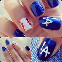 Dodger nail art ⚾ @Anna Castellanos...Can l have these next time?!!