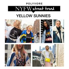 """NYFW Street Style Trend: Yellow Sunnies"" by polyvore-editorial ❤ liked on Polyvore featuring NYFW"