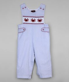 Loving this Light Blue Crab Smocked Overalls - Infant & Toddler on Cactus Light, Baby Boy Fashion, Infant Toddler, Smocking, Overalls, Light Blue, That Look, Rompers, Boys