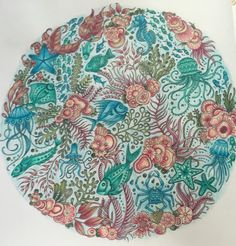 Lost Ocean, Johanna Basford, coloured in Crayola pencils, sweet circle of sea life!!
