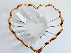 Vintage Mikasa Heart Shaped Glass Dish with Gold Rim by TimelessTreasuresbyM on Etsy