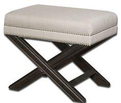 MODERN Tailored Criss Cross Wood X BENCH Stool Vanity Chair Black NailHead NEW