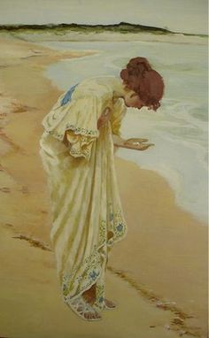 """1897 ~ """"The Sea hath its Pearls"""", Oil Painting signed & dated by William Henry Margetson ...."""