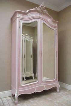 I'd have this armoire filled with my designs. Love this beautiful Rococo armoire in pink. Rococo Furniture, Antique French Furniture, Pink Furniture, Furniture Styles, Vintage Furniture, Painted Furniture, Furniture Design, Painted Armoire, Bedroom Furniture