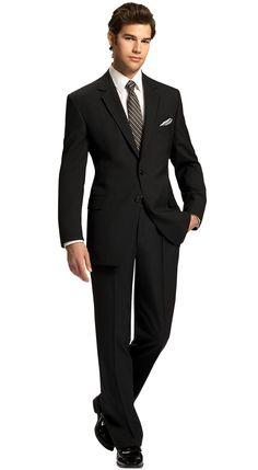 Black Notch Lapel Suit by Savvi, Fit: Modern, Fabric: Super 100s Wool, Lapel: Notch, Buttons: 2, Sizes available: Boys' 3 - Men's 64L