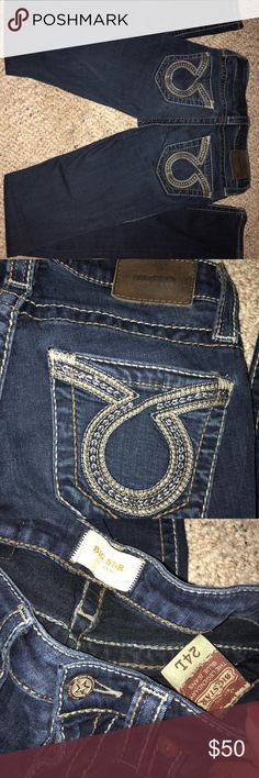 Size 24L big star jeans Older pair of big stars, still very wearable...have lots of life. Very very Light wear on the knees as shown in photo. Pet/smoke free home. 24Long Skinny Big Star Jeans Skinny
