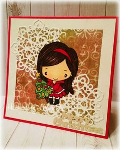 1st Christmas card of 2014 featuring Holiday Anya 4, snowflake die (discontinued) and some fun new sprays from Prima Finding my groove...