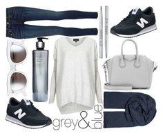 """blue I grey"" by kathrrrin ❤ liked on Polyvore featuring moda, Topshop, Givenchy, New Balance, rag & bone, American Vintage, Caroline Chu, BCBGMAXAZRIA y Christian Dior"
