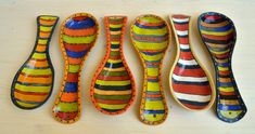 Spoon Rest With Stripes Painting Ceramic Hand by IritPottery