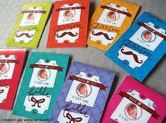 25 Faire-part de naissance - Ticket vintage avec moustache ou nœud