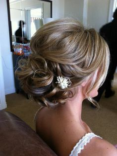 bridal hairstyle curly updo - pretty but simple-looking