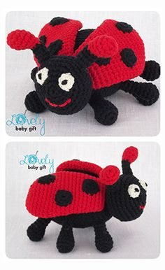 Amigurumi Pattern - ladybug crochet pattern, amigurumi, ladybird, lieveheersbeestje haakpatroon, mariehøne hæklet mønster https://www.etsy.com/listing/123029540/amigurumi-crochet-pattern-crochet?ref=shop_home_active_23