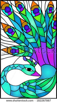 peacock / Stained glass window - stock vector