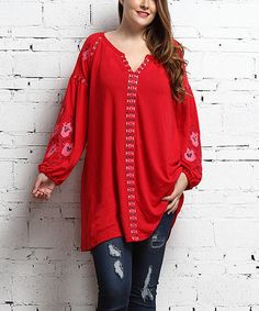 Red Floral Embroidered Notch Neck Puff-Sleeve Tunic - Plus #zulily #zulilyfinds