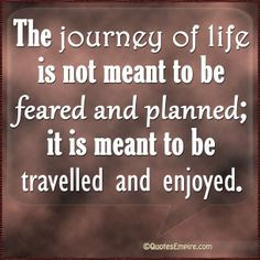 The journey of life is not meant to be feared and planned; it is meant to be travelled and enjoyed.
