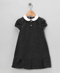 Charcoal Wool Peter Pan Dress - Infant, Toddler & Girls