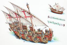 stephen biesty - the caravel ni�a | by subnutty discovery ship, ship of the  line