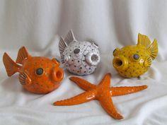 sculpture raku poisson coffre diodon étoile de mer animaux céramique grès  artisanal fait main Jean-Pierre Meyer