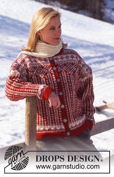 DROPS jakke i Karisma med nordisk mønster + genser og skjerf ~ DROPS Design Knit Cardigan Pattern, Sweater Knitting Patterns, Knit Patterns, Clothing Patterns, Knit Cowl, Drops Design, Fair Isle Knitting, Free Knitting, Finger Knitting