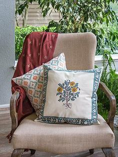 Wild Poppies Throw Cushion Cover : Poppy bouquets of sage blue-green leaves & stems, holding yolk-yellow buds & blooms with detailed orange centers, accented by a border of Moroccan mini-quatrefoils & foliage pattern strip in matching colors. Cushion Covers, Throw Pillow Covers, Pillow Shams, Floral Throws, Wild Poppies, Indian Home Interior, Teen Girl Rooms, Global Style, Small Room Bedroom