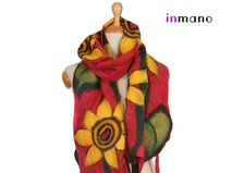 evening sunflowers II felted scarf shawl by inmano