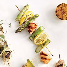 Salmon, Asparagus, and Fresh Lemon Kebabs ~ Cooking Light June 2014