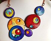 """Polymer clay, """"Colorful Worlds"""" neklace, unique, handmade"""
