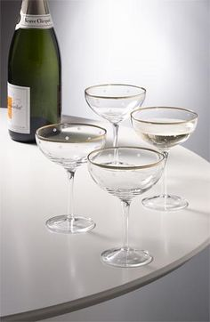 Cheers! love these dotted champagne glasses.