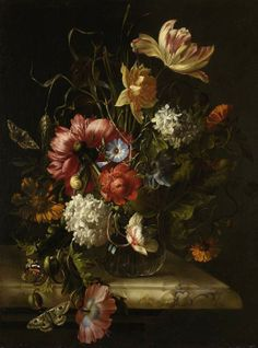 Antique still life flower painting by Anna Elisabeth Ruysch (1666 - 1741)