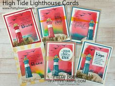 How to stamp the High Tide Lighthouse and create a watercolor background - video tutorial | Patty's Stamping Spot | Bloglovin'