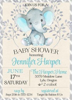 Baby Elephant Shower Invitation Blue