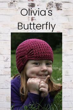 Super simply hat that makes a great chemo cap when done in an adult size Leaving A Legacy, Crochet Hats, Butterfly, Cap, Knitting Hats, Baseball Hat, Butterflies